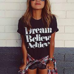 """""""Dream Believe Achieve"""" T-Shirt in Black"""