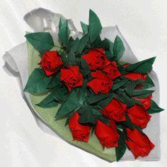 """12 Roses"" origami flower bouquet - 96 folded elements (origami flower & foliage)  - Free Shipping Worldwide - $119.99"
