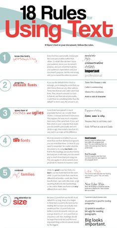 18 Rules For Using Text In Your Work.