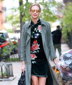 Karlie Kloss Wears Green Velvet Dress in NYC