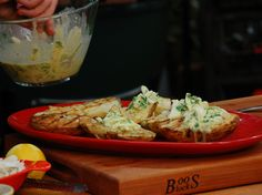 Grilled Potatoes with Crabmeat-Green Onion Dressing Recipe : Bobby Flay : Food Network - FoodNetwork.com