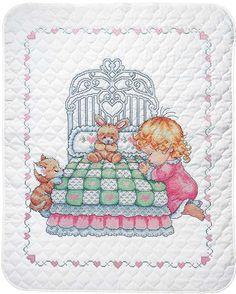 Bedtime Prayer Girl Quilt Stamped Cross Stitch Kit-34 Inch X 43 In 021465217017 #Tobin