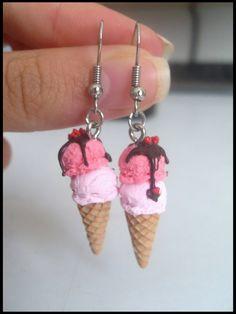 Ice cream earrings by Maca-mau Cream Earrings, Funky Earrings, Kids Earrings, Funky Jewelry, Ear Jewelry, Kids Jewelry, Cute Jewelry, Handmade Jewelry, Polymer Clay Charms