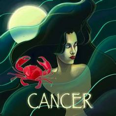 Illustration for the astrology sign Cancer #illustration #astrology, get a free psychic reading here http://www.astrologylove.net