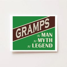 Perfect gift for Fathers Day: personalized professional print with Dad or Grandpas Nickname and The Man, The Myth, The Legend. Gramps would love this!