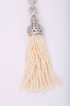 Diamond and Pearl Tassel Necklace image 4