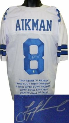 fabdc31077d Troy Aikman Autographed/Hand Signed Dallas Cowboys White Prostyle Jersey w/  Embroidered Stats-