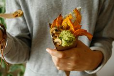 Pompkin Fries with Avocado dip and Herb mushrooms