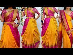 Lehanga Saree, Lehenga Style Saree, Silk Sarees, South Indian Wedding Saree, Indian Weddings, Saree Wearing Styles, Saree Styles, New Blouse Designs, Saree Blouse Designs