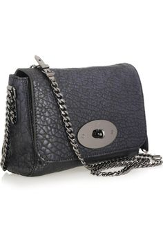 Mulberry Lily shoulder bag: blue-black textured-leather, chain shoulder strap, internal zip-fastening pocket, keyfob with horseshoe charm, gunmetal hardware. Designer-stamped twist-lock fastening at flap front. Leather: Buffalo.