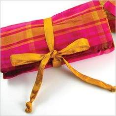 """personalized plaid silk jewelry roll by Objects of Desire. Plaid silk jewelry rolls are a wonderful way to store your jewelry while traveling. Our rolls have three zippered compartments inside to organize your treasures. It comes with a French lavender eye pillow that will not only work to help soothe and relax weary travelers, but also works as a pincushion, an organizer for bracelets, and a buffer for jewelry while it's tucked away! Measures 12"""" L x 8"""" W when opened."""
