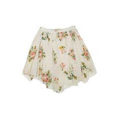 フラワー×ドットのふんわりガーリーなアシンメトリースカート♪ ❤ liked on Polyvore featuring skirts, mini skirts, bottoms, shorts, saias and women