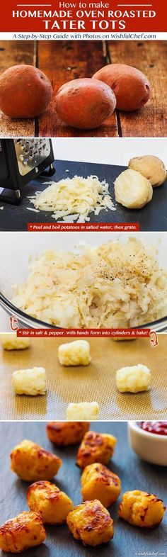 Homemade Oven Roasted Tater Tots Recipe - Much Better Than The Frozen Ones :)  try with sweet potaotes