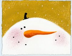 Single Hand Painted Christmas Card 4x5 featuring a Folk Art snowman with a whimsical tiny top hat by Brianna of treehugginlovin on etsy.