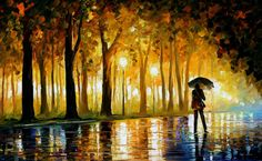 Leonid Afremov, oil on canvas, palette knife, buy original paintings, art, famous artists, biography, official page, online gallery, fall alley, autumn, park, landscape, trees, forest, leaf, garden, night, rain, outdoors, large artwork,fine