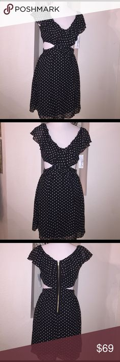 Sweet and Edgy Dress Sweet ruffles, flowy polka dot chiffon dress.  Exposed back zipper and side cut outs. Speechless Dresses