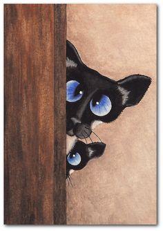 Siamese Cats Sneak a Peek ArT   5x7 Print by DreamCatchingStudio, $15.00