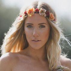 Bohemian Flower Crown Peach Burgundy Ivory Roses Floral Hair Wreath Hi – Flower Crown Wedding, Bridal Crown, Flower Crowns, Hair Garland, Hair Wreaths, Bridal Headdress, Headpiece, Headband Hairstyles, Wedding Hairstyles