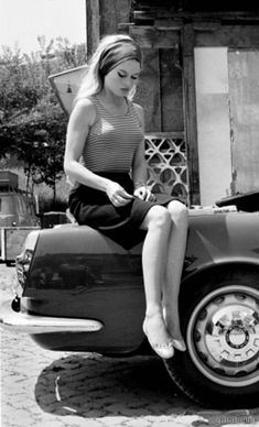 — Brigitte Bardot on the set of Le Mepris /...