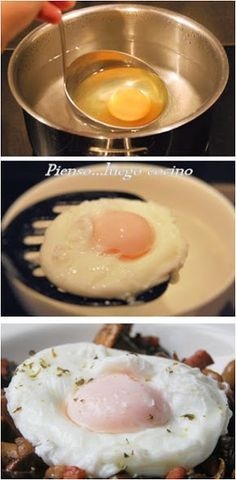 Huevos escalfados (poché) - Pienso...luego cocino Breakfast For Dinner, Breakfast Recipes, Egg Recipes, Cooking Recipes, Good Food, Yummy Food, Easy Cooking, Food Hacks, Chefs