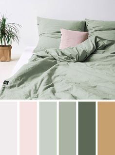 The Best Color Schemes for Your Bedroom – Grey + Mauve + Green #colorpalette #bedroom #homecolor #pantone