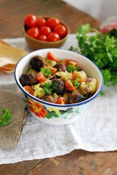 Peruna-pyörykkäsalaatti Korn, Falafel, Pasta, Salad, Dressings, Sweet, Ethnic Recipes, Candy, Salads