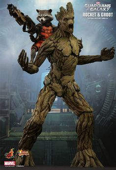 Hot Toys Marvel Guardians of The Galaxy Rocket Raccoon & Groot Scale Figure Set in Dolls. Comic Book Characters, Comic Book Heroes, Comic Character, Comic Books, Marvel Comics, Marvel Heroes, Marvel Avengers, Baby Marvel, Avengers Series