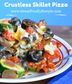 Crustless Skillet Pizza is a delicious, healthy, easy way to satisfy your pizza craving and eat your veggies! I lost 8 sizes and reversed Type 2 Diabetes through diet and lifestyle. For more ideas follow me on Pinterest and subscribe to my blog at this link. #grainfreepizza