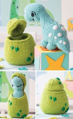 "Knitting Pattern for Dinosaur Hatchling - Baby dinosaur sofite toy fits into its own egg. Dinosaur Approx 8""/20.5cm long and 5½""/14cm tall Egg Approx 6""/15cm tall and 4½""/11.5cm wide. One of the patterns in 60 Quick Knitted Toys. Designed by Megan Kreiner"