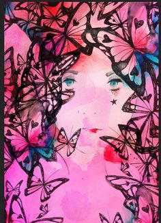 Pink butterflies with face