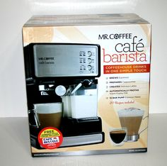 Mr Coffee Cafe Barista Coffee Machine Cappuccinos Lattes Espressos Maker Frother #MrCoffeeCafeBaristaCoffeeMachineCappuccinos