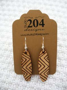WoodBurned Earrings by Studio204Designs on Etsy