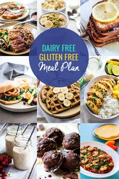 Many people suffer from food allergies or sensitivities these days. But creating a healthy dairy free and gluten free menu plan doesn't have to be complicated. It can be easy and affordable! This simple dairy free and gluten free meal plan is full recipes Free Diet Plans, Gluten Free Meal Plan, Dairy Free Diet, Healthy Gluten Free Recipes, No Dairy Recipes, Foods With Gluten, Gluten Free Desserts, Lactose Free Diet Plan, Wheat Free Diet