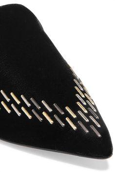 Nicholas Kirkwood - Beya Embellished Velvet Slippers - Black - IT39.5