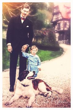 King Carol II of Romania with the son future King Michael of Romania dog st. My King, King Queen, Michael I Of Romania, History Of Romania, Romanian Royal Family, Queen Victoria Prince Albert, Young Prince, Falling Kingdoms, Rare Pictures