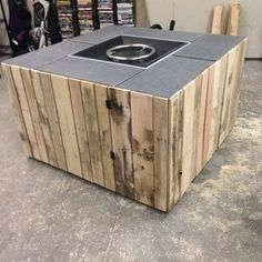 Check out this project on RYOBI Nation - I had a design in my head for some time after seeing nice fire pits go for big bucks. Using an existing propane insert, wood pallets, tile, 2 x and ply wood; I decided to make my own. Foyer Propane, Diy Propane Fire Pit, Diy Fire Pit, Fire Pit Backyard, Backyard Seating, Pallet Fire Pit, Metal Fire Pit, Concrete Fire Pits, Fire Pit Seating