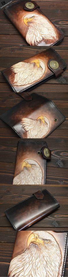 Handmade eagle dark brown black carved leather biker wallet bifold pho | EverHandmade