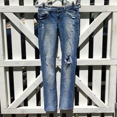 Straight leg destroyed jeans from Zara Good condition, has two tiny holes by belt loops Zara Jeans Straight Leg