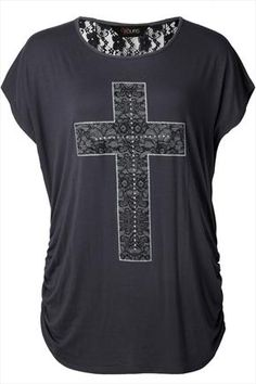 Grey cross t-shirt with lace back and ruched detail