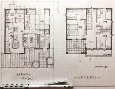 いいね!855件、コメント4件 ― 石川 元洋/一級建築士さん(@motohiro_ishikawa)のInstagramアカウント: 「・ 36坪4人家族の住まい ・…」 House Layout Plans, Small House Plans, House Layouts, Japanese Architecture, Architecture Plan, Plan Sketch, Ishikawa, Minimalist Furniture, Japanese House