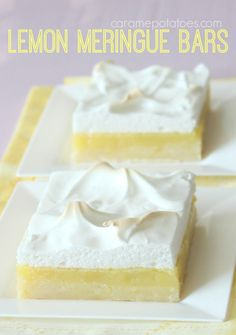 Lemon Meringue Bars.  All the flavor of pie in an easy-to-make bar!  Love it.