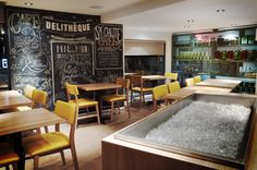 Discover one of our interior restaurant design projects that has attracted a new clientele to an established family establishment. Latte, Restaurant Interior Design, Design Projects, Designers, Furniture, Lighting, Casual, Home Decor, Homemade Home Decor