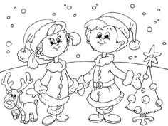 Kids Christmas coloring page. Christmas Sketch, Christmas Drawing, Kids Christmas Coloring Pages, Coloring Pages For Kids, Unique Christmas Cards, Christmas Colors, Christmas Activities, Christmas Printables, Colorful Drawings