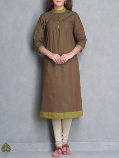 Brown-Green Pleated Mangalgiri Kurta by Jaypore