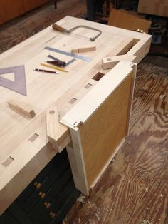 A woodworking bench is one of the essential equipments to have in a woodworking shop. * Check this useful article by going to the link at the image. Workbench Plans, Woodworking Workbench, Craftsman Workbench, Workbench Vise, Woodworking Shop Layout, Woodsmith Plans, Craftsman Furniture, Beginner Woodworking Projects, Carpentry