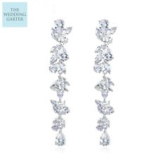 0bc7fc7a3 water drop crystal earrings. See more. Floral Design Long Cubic Zirconia  Dropper Earrings Wedding Earrings, Plating, Floral Design, Flora