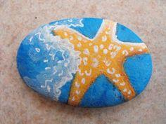 Galet étoile de mer … Star Painting, Pebble Painting, Dot Painting, Pebble Art, Starfish Art, Seashell Art, Hand Painted Rocks, Painted Stones, Walt Disney