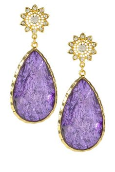 Amrita Singh Cassia Spring Earrings 18k gold plate Austrian Crystal violet purple