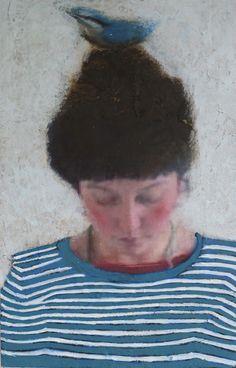 Veronique Paquereau, a la mer, Mixed Media op hout, 20x13 cm, €.180,-