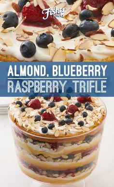 Chef Alex Guarnaschelli's Almond, Blueberry, Raspberry Trifle uses homemade lemon curd and raspberry jam to separate layers of fluffy vanilla cake, fresh berries and cream. The colors make it a perfect dessert to serve on Memorial Day weekend!